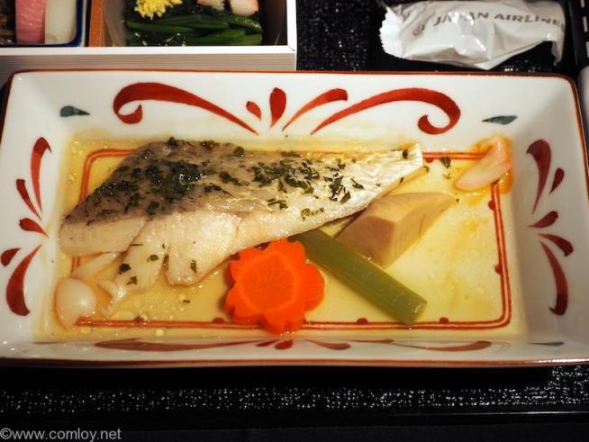 日本航空 JL36 シンガポール - 羽田 ビジネスクラス 機内食 台の物 鱸の木の芽焼き