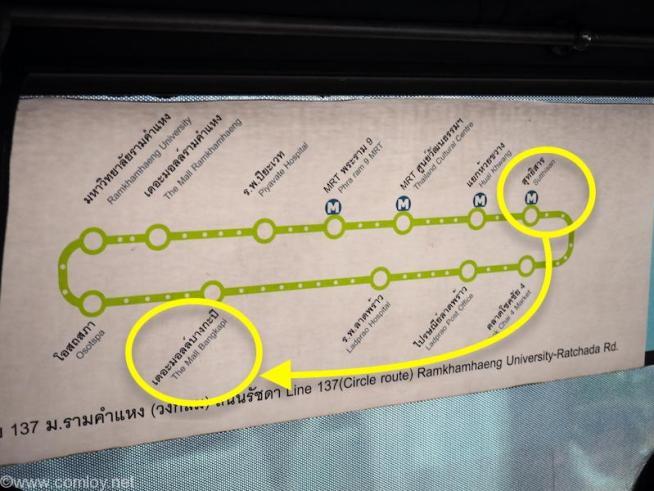 137番バスのルートマップ