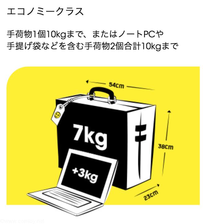 SCOOT機内持ち込み手荷物最大サイズと重量