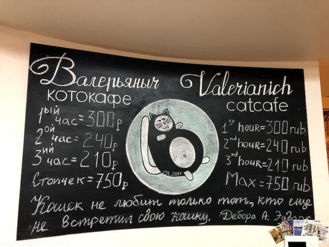 ウラジオストクの猫カフェ・ヴァレリヤニチ(Валерьяныч)の料金表