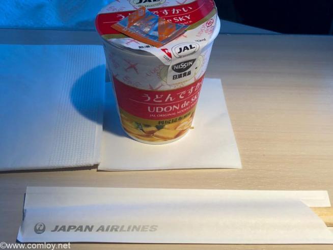 日本航空 JL31 羽田 - バンコク ビジネスクラス機内食 うどんですかい