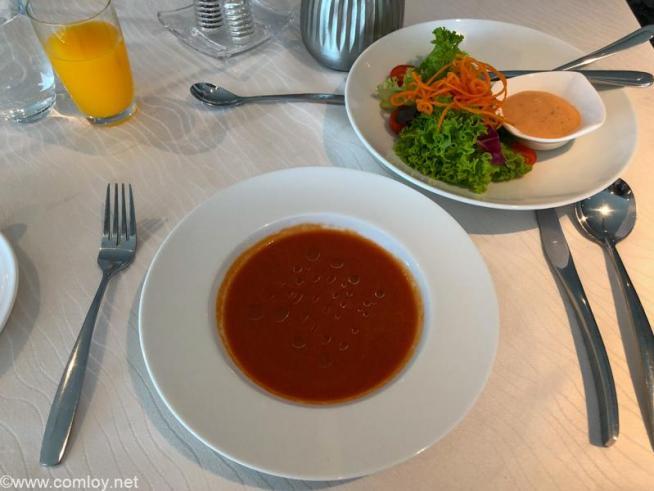 マレーシア航空 ゴールデンラウンジ サテライト FirstClass LOUNGE DINING Today's Soup Seasonal GREENS
