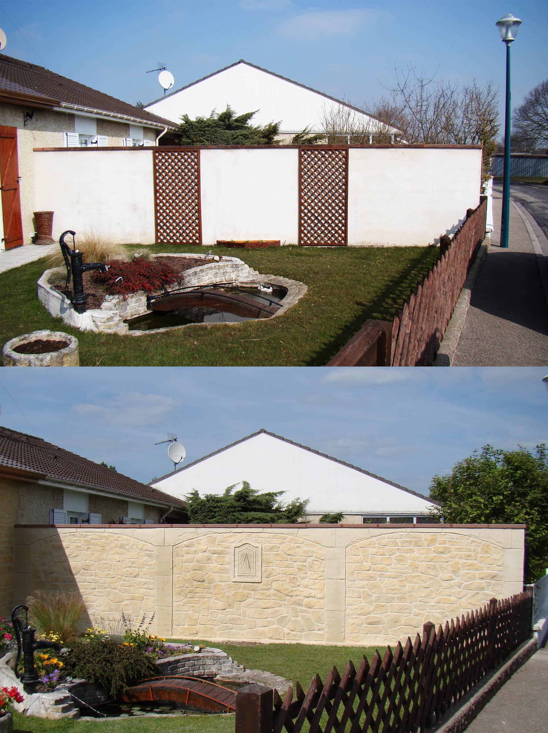 enduit imitation pierre sur muret de jardin en meurthe et moselle