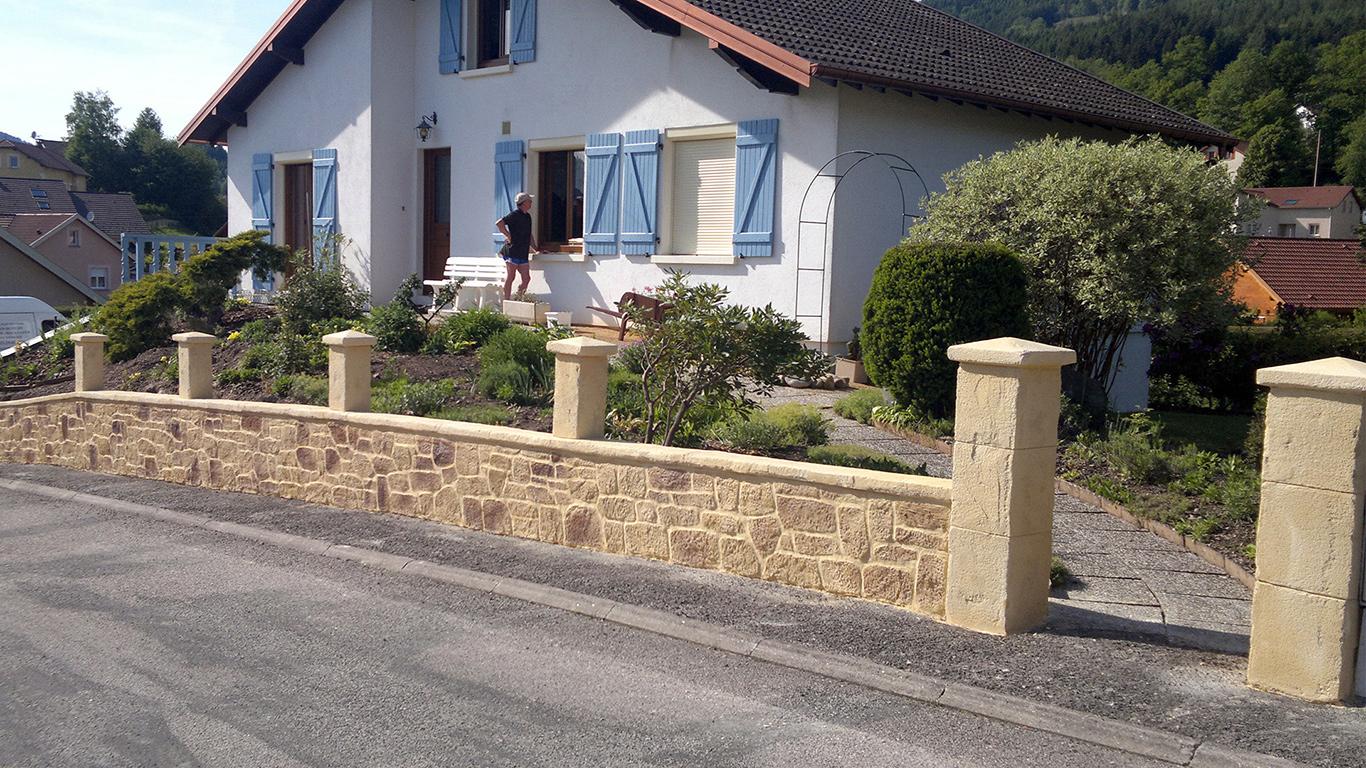 imitation pierre sur murets et piliers et couvertine
