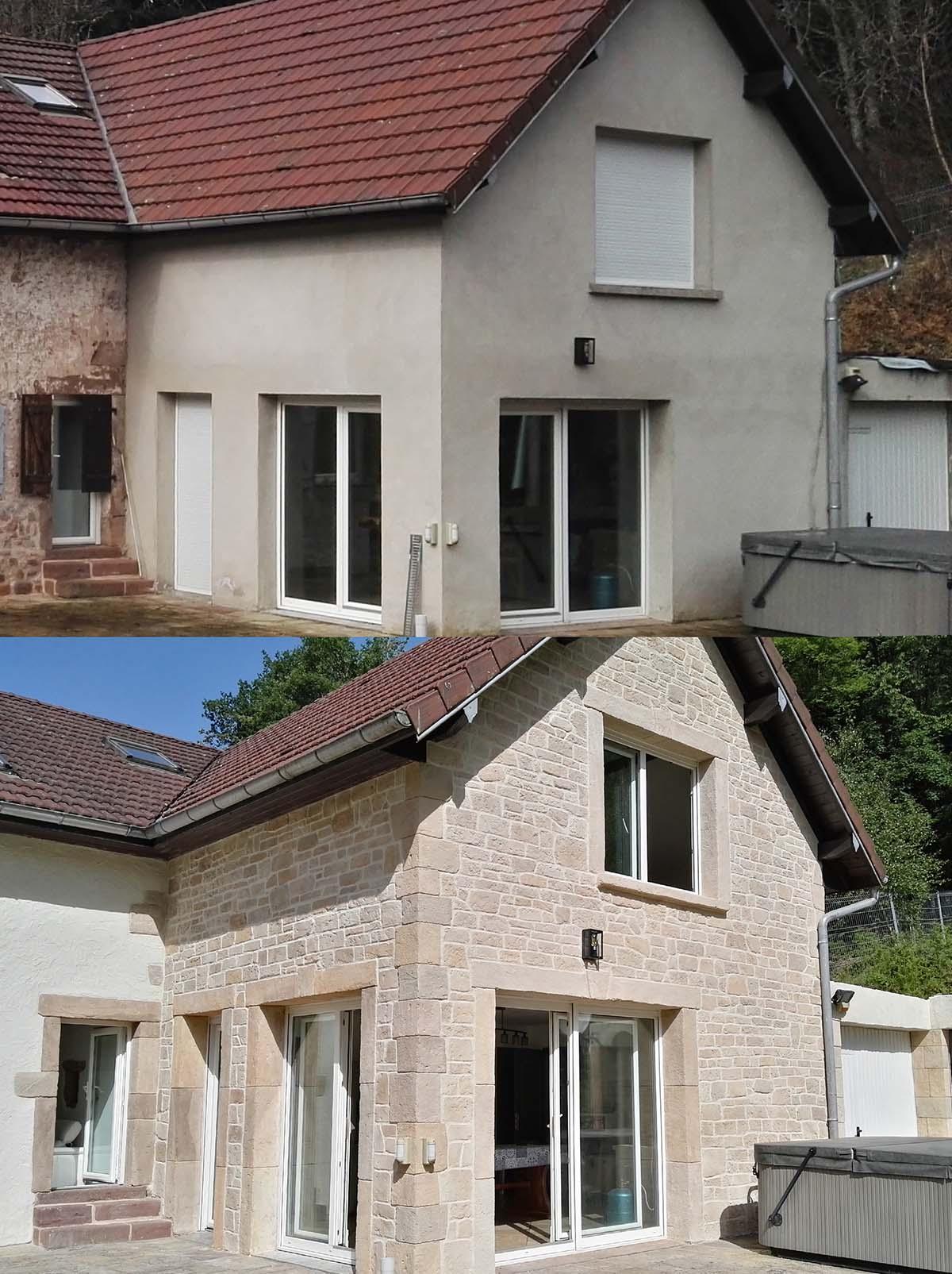 Vue avant-aprés crépis fausse pierre apparente sur extention de maison dans les vosges
