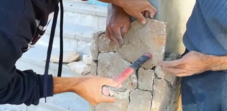 pose de pierre naturel taillée et maçonnée