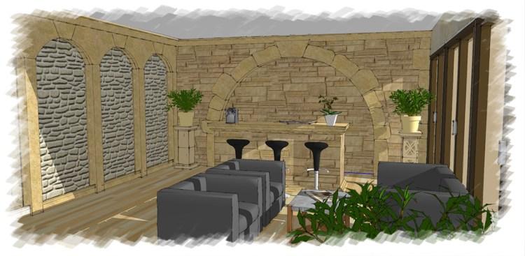 projection 3D d'un projet de décoration intérieur imitation pierre