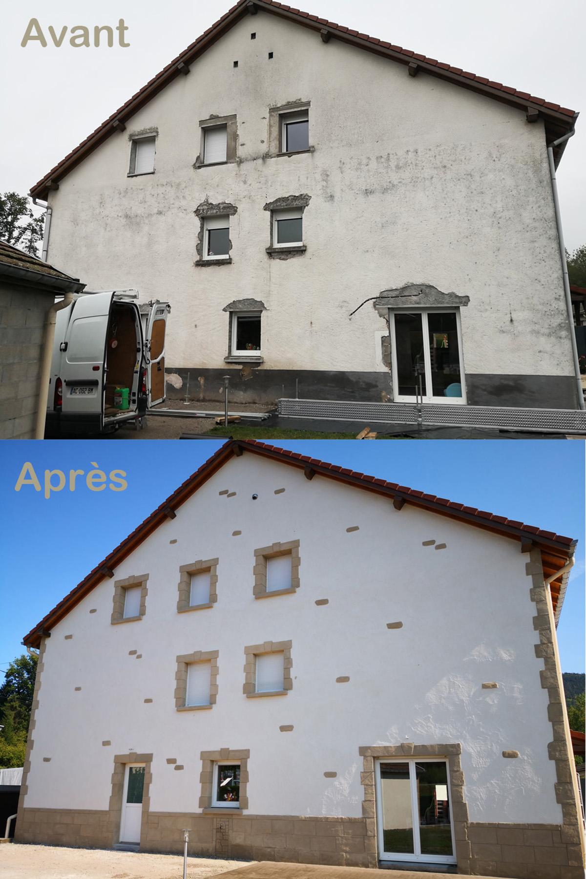 Vue avant-après enduit traditionnel à la chaux aérienne sur facade de maison vosgienne ets commedelapierre