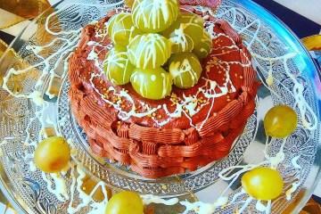 Tarta de coco, uva y chocolate para la Nochevieja 2