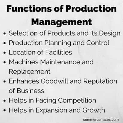 Functions of Production Management