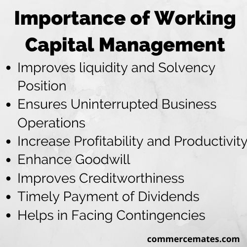 Importance of working capital management