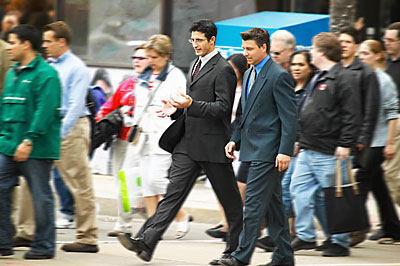 men walking in street