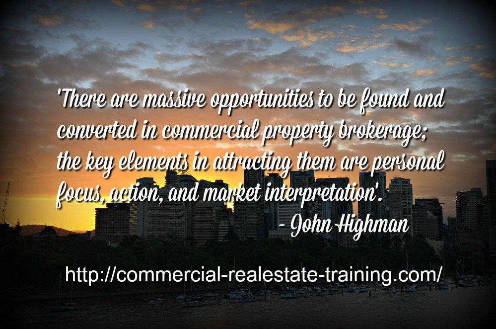 city scene with commercial real estate quote