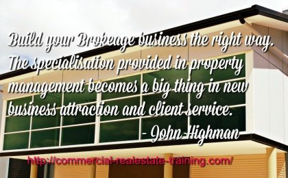 office building with property management quote over
