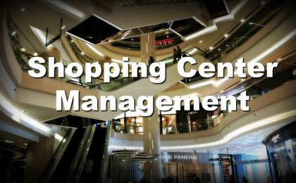 Retail shopping mall and escalators