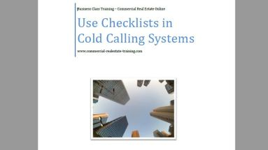 Cold call contact checklists in commercial real estate brokerage