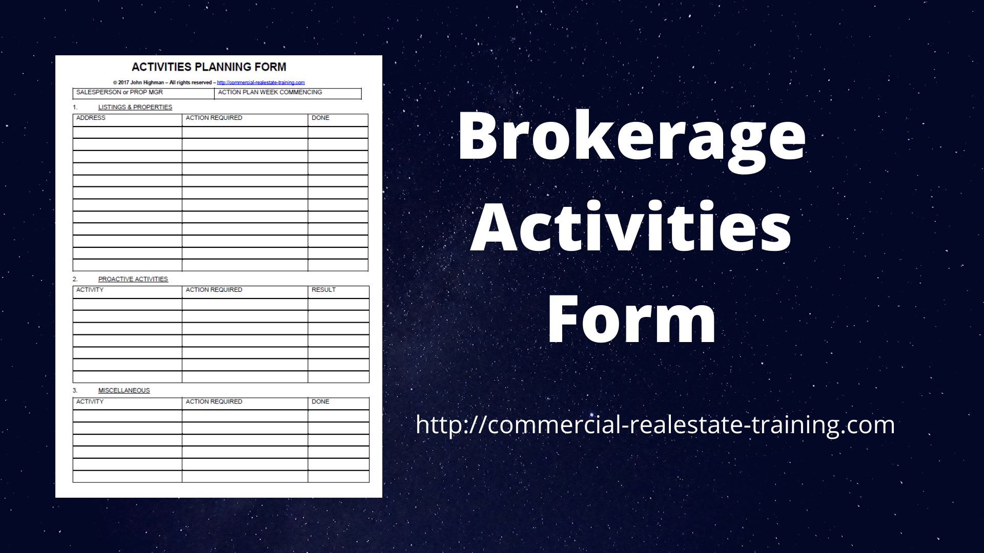 Easy to Use Brokerage Activities Form