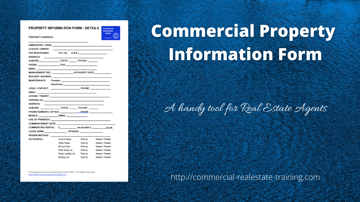 commercial real estate information template by John Highman
