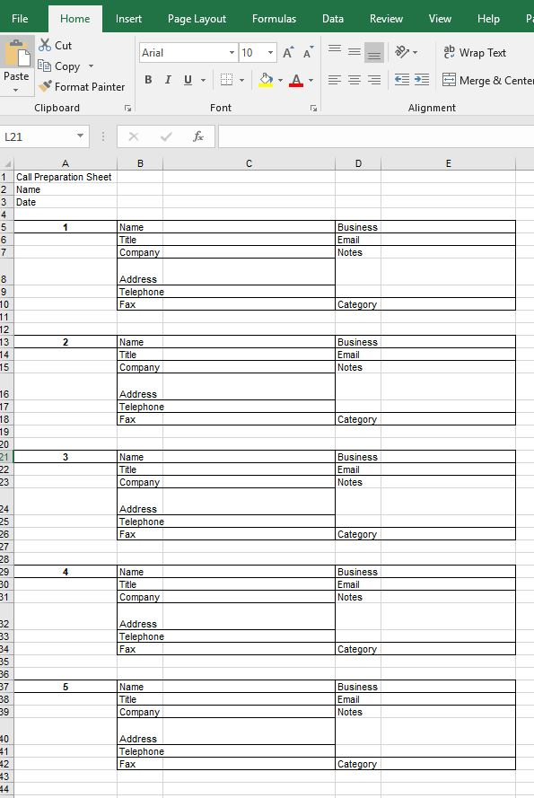 five contacts prospecting form