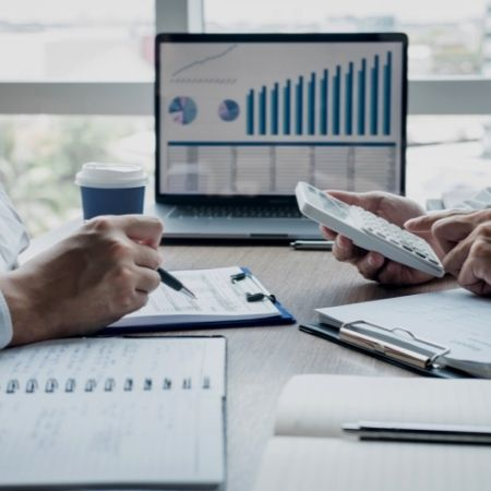 business materials on desk