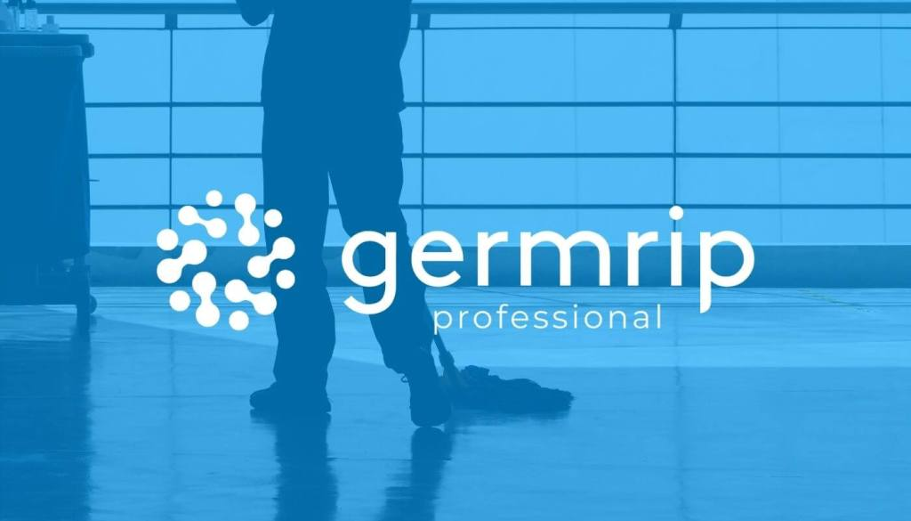 Image of a janitorial service member mopping with a germrip professional logo
