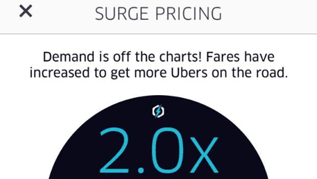Uber Surgre pricing notification