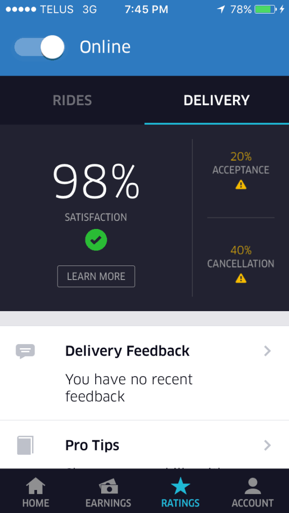 Uber Eats driver app acceptance rate stats