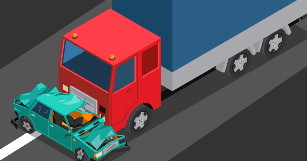 Example image truck hitting car and liability