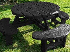Black Recycled Plastic Composite Picnic Tables