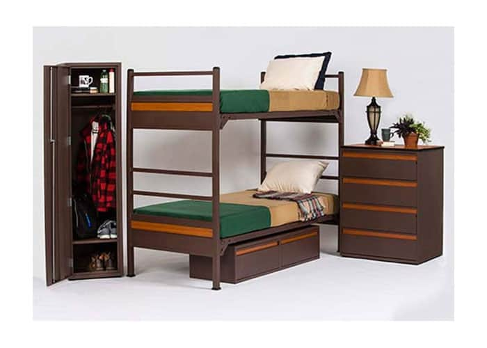 Heavy-Duty-Metal-bunkbed-with-four-drawer-chest-underbed-chest-single-wardrobe-Gold-Series