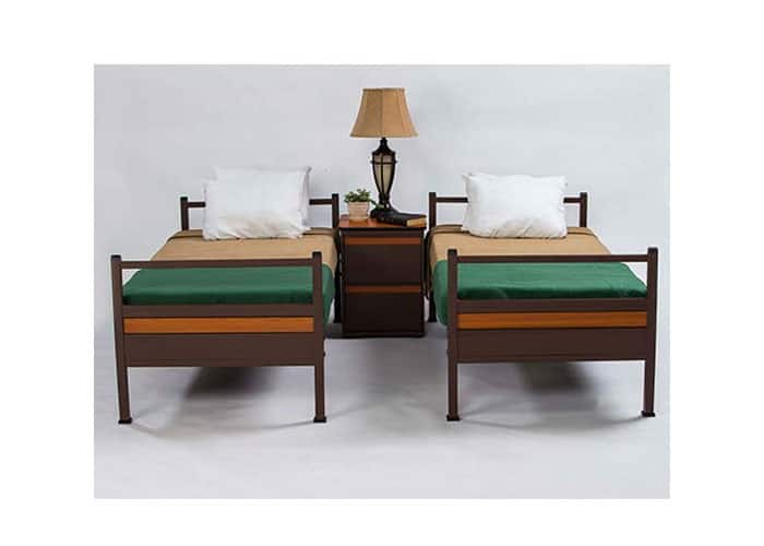 Heavy-duty-metal-commercial-grade-single-beds-with-night-stand
