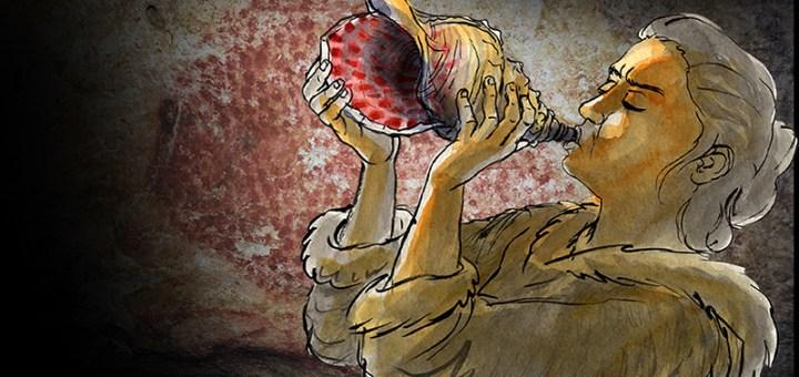 Reconstitution du jeu de l'instrument. En fond : bison ponctué ornant les parois de la grotte de Marsoulas. Des motifs similaires décorent l'instrument. © Carole Fritz et al. 2021 / illustration Gilles Tosello