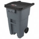 50 gal Rectangular Rollout Trash Can, Plastic, Gray - Also available in(Trash Container Capacity 32 gal, 50 gal, 65 gal, 95 gal - Color Black, Blue, Gray, Green, Red, Yellow)