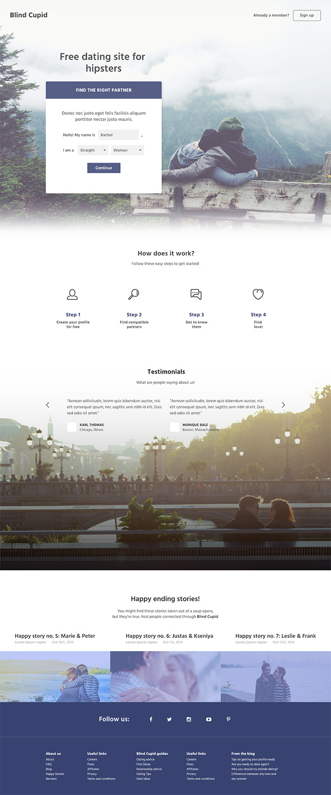 Blind Cupid PSD template - Preview
