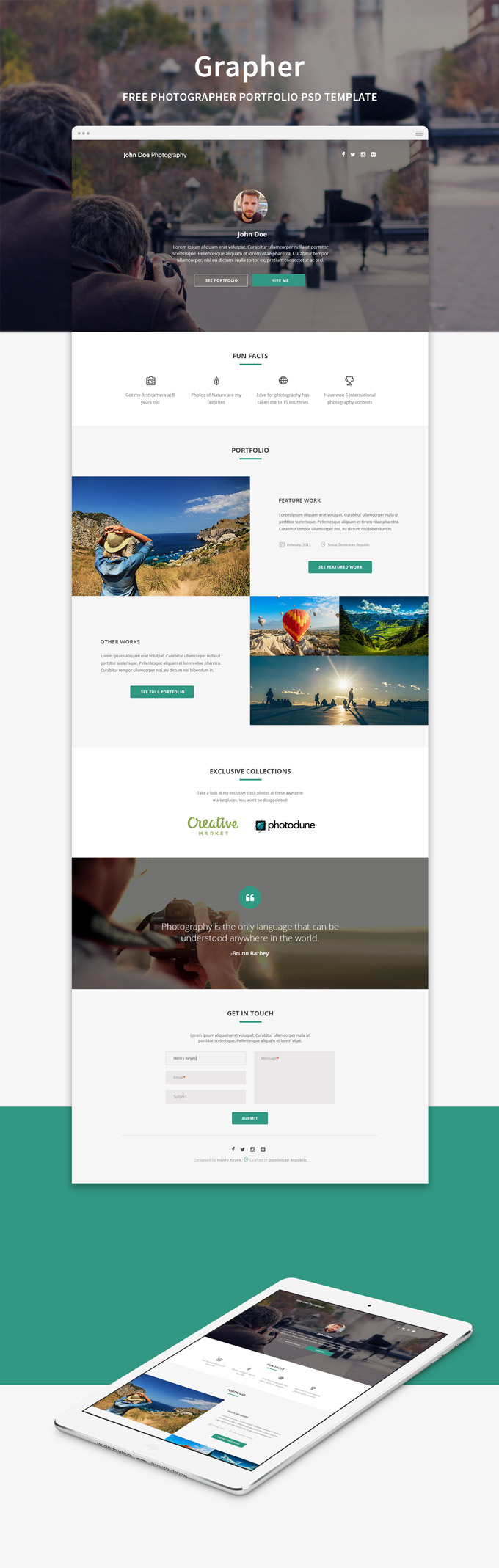 Grapher photographer portfolio web template