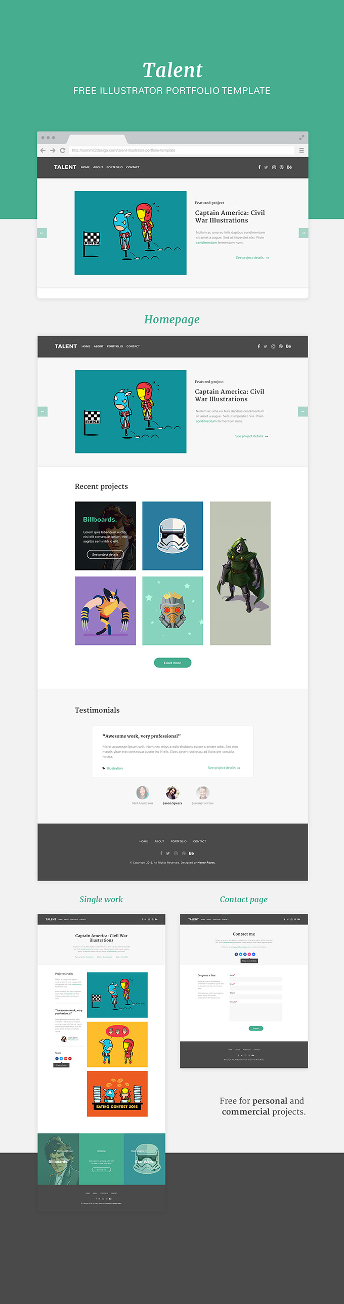 Talent, illustrator portfolio template preview