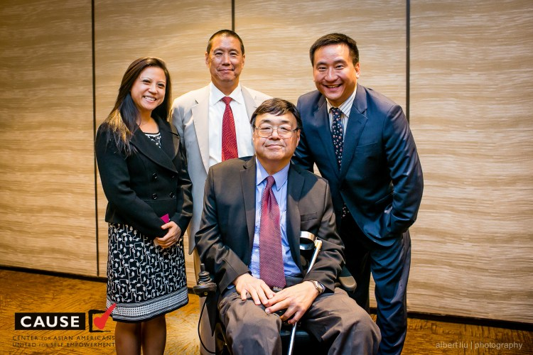 """C-100 members Brian Sun, Charlie Woo, and Frank Wu and C-100 Acting Executive Director Holly Chang attend """"A Conversation with Frank Wu: Asian Americans and the Law"""""""