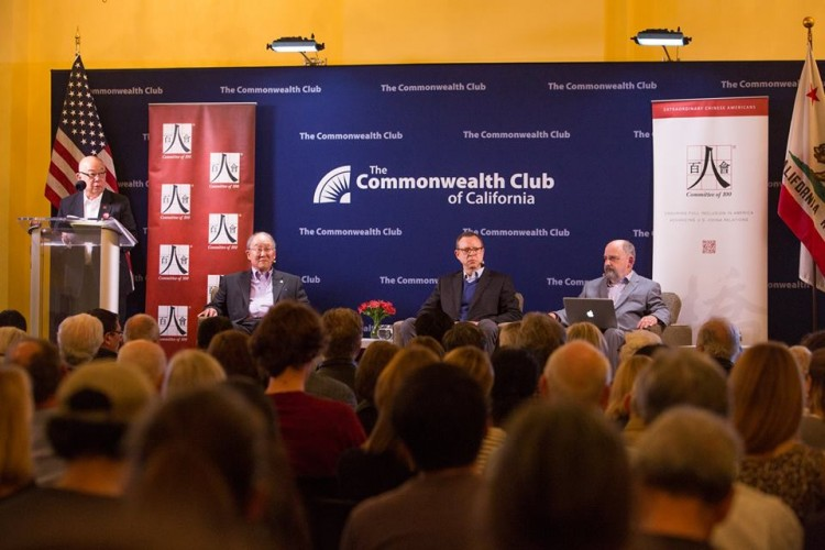 From left: Past Chair of the Commonwealth Club and C100 member Dennis Wu, C100 member George Koo, Howard French, and George Lewinski