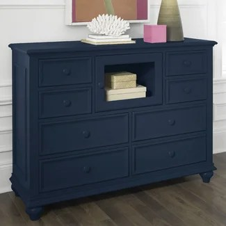 Riverside Furniture Splash of Color Entertainment Dresser in Navy Blue