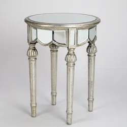 Round Lamp Table in Antique Silver
