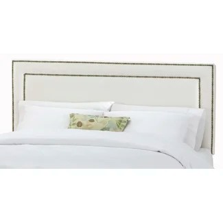 Skyline Furniture Nail Button Border Headboard in Shantung Pearl Upholstery - 29XX (Shantung Pearl)