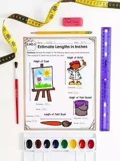 second grade measurement Worksheet showing lengths in inches