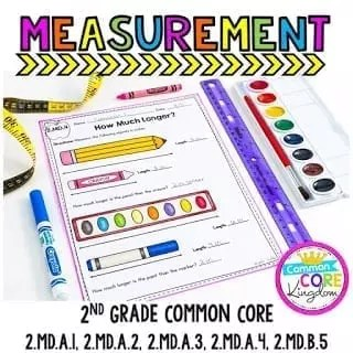 worksheet showing items like a pen and pencil with instructions for second graders to measure and determine how much longer they are