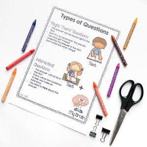 Types of Questions Worksheet showing Right There and Inferential questions