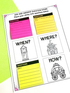 6 w's Worksheet with Sticky Notes
