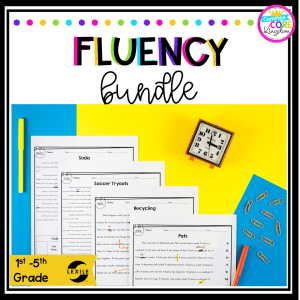 Fluency Progress Monitoring product bundle for 1st, 2nd, 3rd, 4th, 5th grade showing reading fluency product