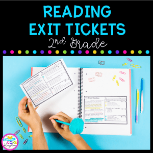 2nd Grade Exit Tickets cover showing two reading passages in a notebook with a person writing and a blue background