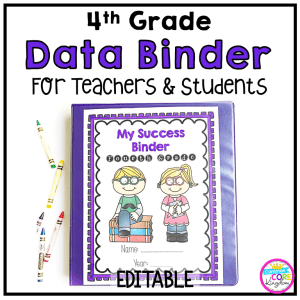 4th grade student success binder for teachers and students cover showing an image of the data notebook