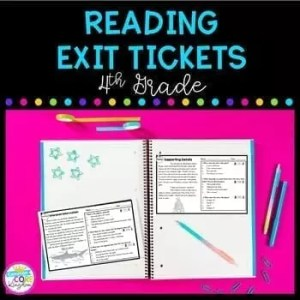 4th grade reading exit tickets cover showing two exit tickets on pink background with pens