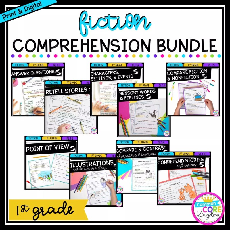 1st Grade Fiction Comprehension Bundle cover showing various covers of printable and digital worksheets